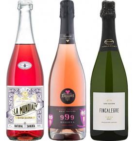 Assortiment de 3 bouteilles de boissons pétillantes espagnoles. La Mundial Rosalea, Cava brut 999 2014, Fincalegre Cava Brut